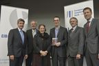 (from left to right): Philippe de Fontaine Vive Curtaz, Vice President of the European Investment Bank and Chairperson of the EIB Institute's Supervisory Board; EIB President Werner Hoyer, Professor Reinhilde Veugelers, KU Leuven (BE), Department of Management, Strategy and Innovation; Professor John Van Reenen, Recipient of the EIB Prize 2014, London School of Economics and Political Science; Guy Clausse, Dean of the EIB Institute; Georg Schutte, State Secretary in the German Federal Ministry of Education and Research.