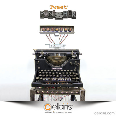 "Tweet Punisher, the first analog machine enabling consumers to live-test a product via social media. The Tweet Punisher device itself is crafted from a 1940's typewriter with keys intricately wired to type out the characters of any tweet posted with the designated hashtag, ""#tweetpunisher"", while users observe via a live video feed on the Cellairis Facebook page."