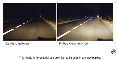 Drivers can easily upgrade their lighting with Philips X-tremeVison Headlight Bulbs (right), which put up to 100 percent more light on the road than standard halogen bulbs (left).