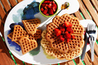 "Celebrate mom this Mother's Day and beyond with heart-smart brunch recipes by Ellie Krieger, M.S., R.D., host of the Cooking Channel's ""Healthy Appetite."" Her ""Mother's May the Healthy Way"" recipes, such as these Whole-Grain Waffles with Strawberry Rhubarb Topping, are all made with canola oil and found at www.canolainfo.org."