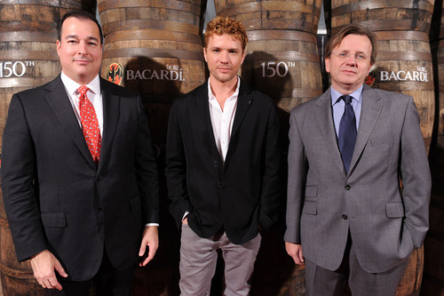 Facundo L. Bacardi, Chairman of Bacardi Limited, actor Ryan Phillippe, and Robert Furniss-Roe, Regional President of Bacardi North America, at the 150th anniversary celebration of BACARDI Rum in Miami, Florida. Photo credit: World Red Eye Productions.  (PRNewsFoto/Bacardi U.S.A., Inc.)