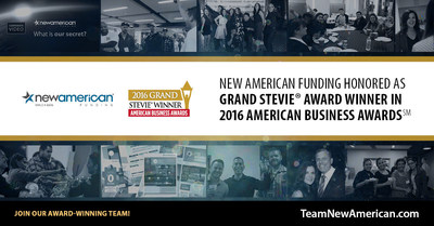 New American Funding Honored as Grand Stevie Award Winner in 2016 American Business Awards