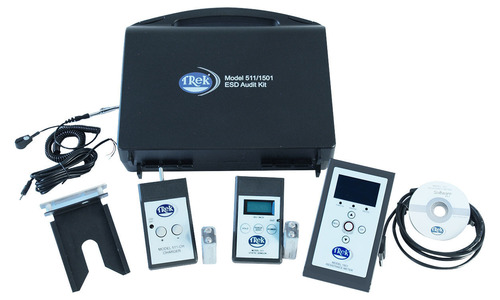 Trek's ESD Audit Kit includes Trek's Ionizer Kit (Model 511 Electrostatic Field Meter, charger and charge-plate) and Surface Resistance Meter (Model 1501). It provides numerous technical capabilities in a user-friendly, portable, all-in-one compact case, helping operators and auditors to be more efficient on the production floor. Applications include air ionizer verification, electrostatic decay auditing/monitoring, testing of floor materials/systems, and resistance measurement of work surfaces, static dissipative materials and ...