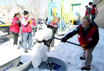 Lowe's Heroes employee volunteers deployed a shovel brigade to help Boston's Leahy-Holloran Community Center dig its way out of winter. After the city marked a record seasonal snowfall toll of 108.6 inches, the employees are readying the facility and its playground for spring.