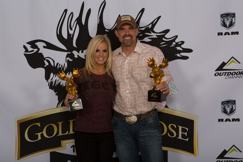 """Lee and Tiffany Lakosky, hosts of """"Crush with Lee & Tiffany"""" on Outdoor Channel took home Best Bird Hunting and Fan Favorite Best Hunting Series at the Golden Moose Awards. (PRNewsFoto/Outdoor Channel) (PRNewsFoto/OUTDOOR CHANNEL)"""