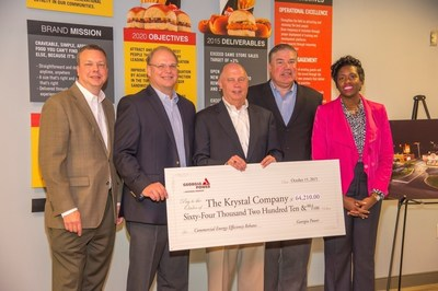 The Krystal® Company, known as the oldest quick service restaurant chain in the South, upgraded lighting fixtures at 55 restaurants to energy-efficient LEDs in an effort to improve customer experience and be more sustainable.  Georgia Power presented Krystal with a $64,000+ rebate check in October 2015.
