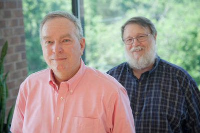 Raytheon BBN Technologies' Internet Hall of Fame Inductees: 2013 Inductee Steve Kent (front), chief scientist for Security Technology; and 2012 inductee Ray Tomlinson, a principal engineer. Raytheon Photo.  (PRNewsFoto/Raytheon Company)