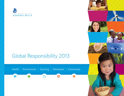 General Mills has released its 2013 Global Responsibility Report, which outlines the company's progress and commitments in the areas of health, environment, sourcing, workplace and community engagement. The full report can be accessed at www.GeneralMills.com. New this year, the report unveils the company's sustainable sourcing commitment to improve the environmental, economic and social impacts of the materials it purchases. The commitment is a direct link to General Mills' sustainability mission of conserving and protecting the natural resources on which the business depends. The report details progress against strategies on 10 priority agricultural raw materials.  (PRNewsFoto/General Mills)