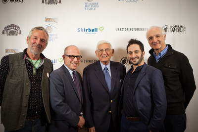 "Timothy Bottoms, Rabbi Leder, Eli Broad, Aaron Wolf, and Michael Gross on the ""Restoring Tomorrow"" Red Carpet."