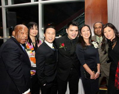 From left to right - Congressman John Lewis, AALDEF's executive director Margaret Fung, actor BD Wong, Jose Antonio Vargas of Define American, Simone Wu of Choice Hotels International, Sree Sreenivasan of Columbia University and Juju Chang, ABC News Nightline.  (PRNewsFoto/Choice Hotels International, Inc.)
