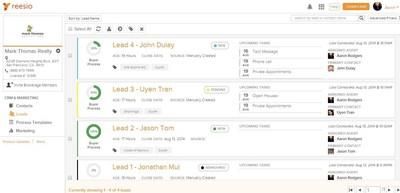 Screenshot of new Leads Table within Reesio (PRNewsFoto/Reesio)