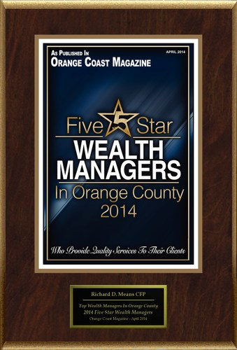 """Richard D. Means, CFP Selected For """"Top Wealth Managers In Orange County 2014"""" (PRNewsFoto/American ..."""