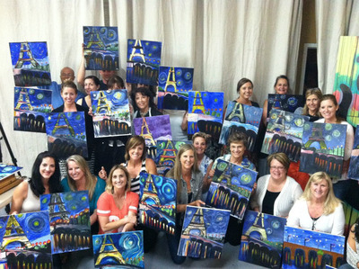 Group shows off their completed masterpieces at Paint & Sip Studio LA event. (PRNewsFoto/Paint & Sip Studio LA) (PRNewsFoto/PAINT & SIP STUDIO LA)