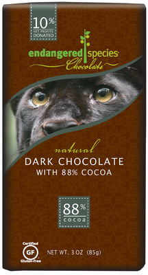 New Look of All-Natural 88% Extreme Dark Chocolate Bar.  (PRNewsFoto/Endangered Species Chocolate)