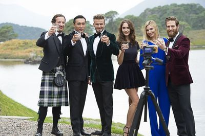 Friends of HAIG CLUB toast in front of the lake at Glen Affric in the HAIG CLUB advert directed by Guy Ritchie (PRNewsFoto/HAIG Club and Diageo)