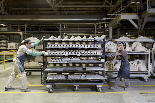 Arts/Industry artists Annie Han and Daniel Mihalyo in the Kohler Co. Pottery, 2013. John Michael Kohler Arts Center Arts/Industry Artist Archive.    (PRNewsFoto/The John Michael Kohler Arts Center)