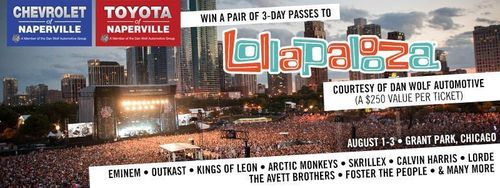 Chevrolet of Naperville is bring music to the people by offers a pair of three-day passes to the Lollapalooza festival in Chicago, Aug. 1-3. (PRNewsFoto/Chevrolet of Naperville)