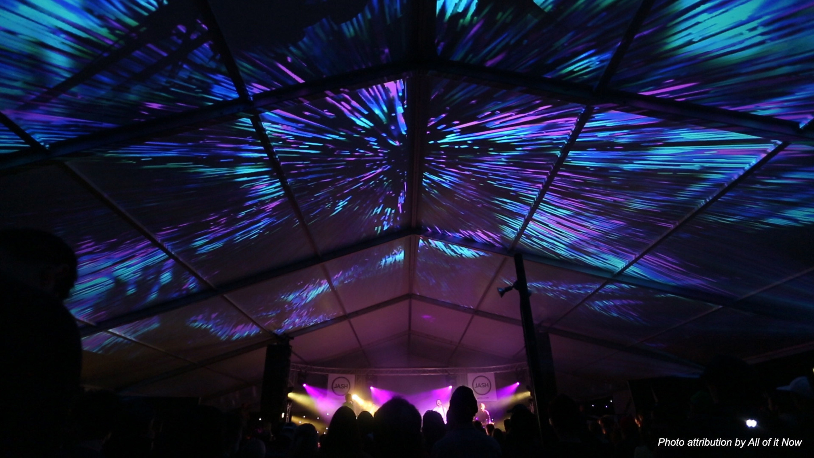 All of it Now used Epson Pro Z-Series projectors to create a 60' x 80' planetarium style projection mapping installation at the space-themed Fun Fun Fun Fest in Austin, Texas.