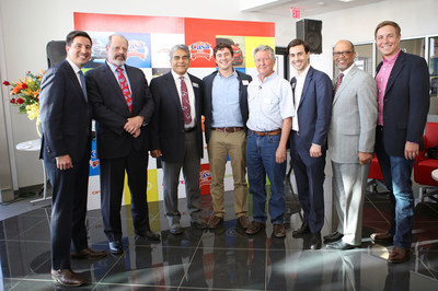 Left to Right (Justin Lowenfield; Oscar Leeser, Mayor of El Paso; Frank Estrada, El Paso Chamber of Commerce; Miles Lowenfield; Clay Lowenfield, President of Casa Dealership Group; Luke Lowenfield, General Manager of Casa Kia; Percy Vaughn, Vice President Southern Region Kia Motors; Ronnie Lowenfield)