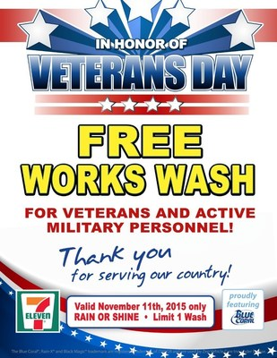 More than 300 7-Eleven stores with car washes in 16 states offer active and veteran military personnel a free vehicle cleaning on Nov. 11, Veterans Day.