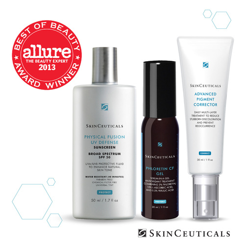 SkinCeuticals won three 2013 Allure Best of Beauty Awards for Physical Fusion UV Defense SPF 50, Phloretin CF Gel and Advanced Pigment Corrector. (PRNewsFoto/SkinCeuticals) (PRNewsFoto/SKINCEUTICALS)