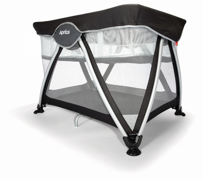 """New from Aprica: Haven OpenAir Playard makes quick getaways easy. It's ready to go in just 15 seconds. Available at Babies""""R""""Us. www.aprica.com"""