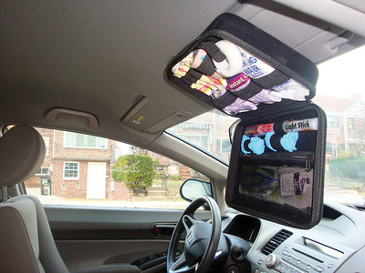 Open kit mounted on sun visor.  (PRNewsFoto/StatGear, Inc.)