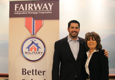 Boot Camp spokesman Sean Parnell and Louise Thaxton, Fairway Independent Mortgage Corporation's military mortgage director. In celebration of Veterans Day, Fairway, one of the country's largest mortgage companies, will be presenting 4 mortgage-free homes to wounded warriors. NY Times best-selling author Sean Parnell is an advocate for Fairway's programs.  Parnell, a retired Army Ranger and Purple Heart recipient, wrote the best-selling novel Outlaw Platoon about his experiences serving for the U.S. military in Afghanistan.  (PRNewsFoto/Fairway Independent Mortgage Corporation)