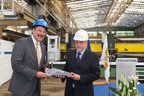 Richard Meadows, President of Seabourn, and Raffaele Davassi, Director of the Fincantieri Shipyard, Celebrate the Steel Cutting of Seabourn Ovation in Sestri Ponente