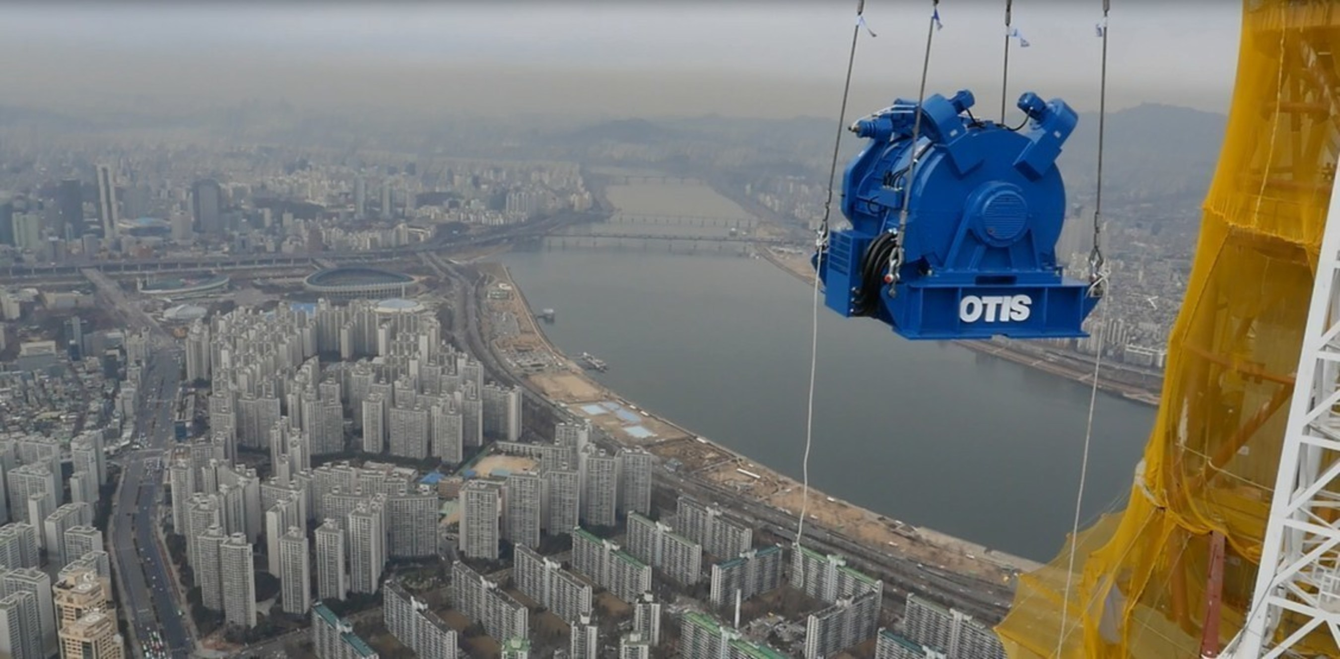 Otis Elevator installed the 100-ton traction machine in the Lotte World Tower in Seoul, South Korea on Feb. 22. The machine powers the world's longest double-deck elevator, which runs 496  meters and can carry 54 passengers to the building observation deck in less than one minute.
