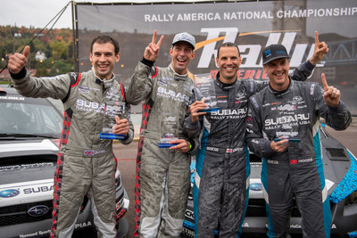 Durant, Pastrana, Drew and Higgins celebrate at the finish of LSPR 2016