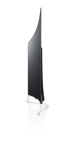 The new LG CURVED OLED HDTV, the first of its kind in the U.S., goes on sale today. The TV's gentle curved screen is a distinctive design statement and delivers an IMAX-like viewing experience in the home. At only 0.17 inches (4.3 millimeters) thin at the edge of the screen and weighing less than 38 pounds (17.2 kilograms), the new TV combines the pinnacles of picture quality and design to bring consumers the ultimate in display technology for home entertainment.  (PRNewsFoto/LG Electronics USA, Inc.)