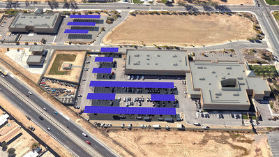 Perris Sheriff Station Solar Rendering, part of Riverside County Solar Project, 2015.