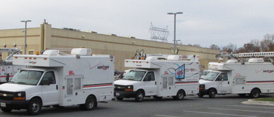 Verizon FiOS trucks, technicians are on their way from Maryland to help restore services in New Jersey.  (PRNewsFoto/Verizon)