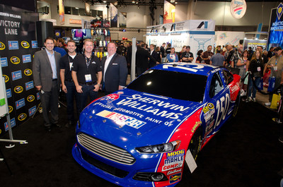 Features (L to R) Sherwin Williams Automotive Finishes Global Marketing Director Bryan Draga, NASCAR drivers Matt DiBenedetto and Clint Bowyer, and Sherwin-Williams Motorsports Manager Bryan Nichols.