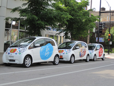 "Jelly Belly ""sweetened"" Mitsubishi EV's take to the streets of Chicago.  (PRNewsFoto/Mitsubishi Motors North America, Inc.)"