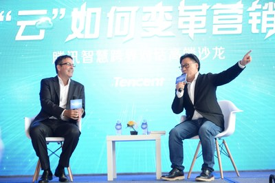 Corporate Vice President of Tencent Steven Chang (right) and cloud computing strategist Joe Weinman (left) exchanging insights about the cloud and marketing