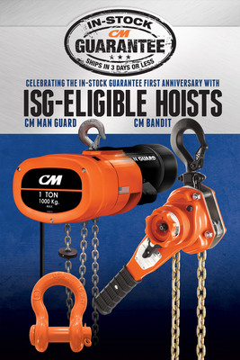 Columbus McKinnon Corporation announces the addition of two industry-leading hoists to its In-Stock Guarantee offering -- the CM Bandit ratchet lever hoist and select CM Man Guard electric chain hoists. Columbus McKinnon's In-Stock Guarantee now includes more than 275 hoists and rigging products guaranteed to be in stock and ready to ship in three days or less. The CM Bandit has quickly become a customer favorite and is the company's lightest and most compact ratchet lever hoist ever. The CM Man Guard is well established in the material handling industry, known for its reliable performance and superior safety features.