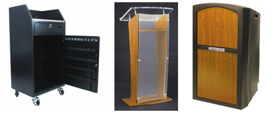 AmpliVox offers specialized lecterns for restaurants in a variety of materials and designs. Pictured: Portable Valet Podium VS1050, Wood & Acrylic Lectern SN3500, and Pinnacle Lectern SN3250.