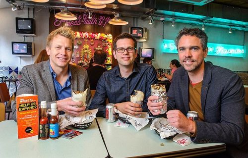 Left to right: Eric Partaker and Dan Houghton of Chilango; Luke Lang of Crowdcube (PRNewsFoto/Crowdcube)