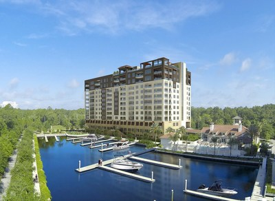 Aphora at Marina San Pablo is located on the Intracoastal Waterway near J. Turner Butler Boulevard in Jacksonville, Florida, as pictured in this rendering.
