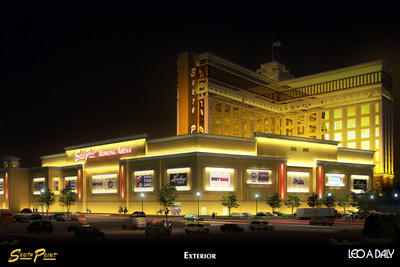 Exterior rendering of new South Point bowling tournament facility.
