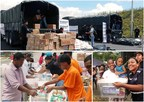 Aid relief items loaded into army trucks.Bottom left: Aid supplies being repackaged by the Emmanuel TV Team.Right: Aid relief supplies received by beneficiaries. (PRNewsFoto/Emmanuel TV)
