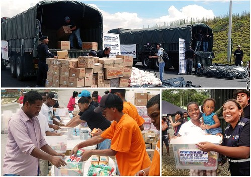Aid relief items loaded into army trucks. Bottom left: Aid supplies being repackaged by the Emmanuel TV ...