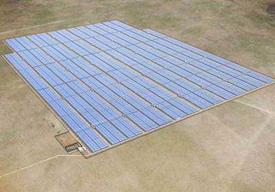 Graphical simulation of the solar photovoltaic power plant which will be constructed by SunEdison in Chile. The plant is designed to have an installed capacity of 100MW (DC) and will be located in the Atacama Desert. It is expected to be the largest plant in Latin America and one of the largest in the world. It is also estimated that the plant will produce as much as 15% of the mining and steel group CAP's energy needs.