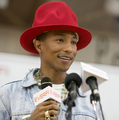 Pharrell Williams announces that his educational non-profit, From One Hand to AnOTHER, will partner with EverFi on a community education initiative and provide EverFi's digital learning courses to students participating in his Summer of Innovation camps. (PRNewsFoto/EverFi, Inc., Keith Cephus)