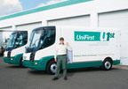 """GREEN"" DELIVERIES -- UniFirst is testing all electric-powered vans for its customer deliveries. The vans, which produce zero emissions, are among a wide range of sustainable measures UniFirst is taking to become as environmentally friendly as possible with the laundering and delivering of its work uniforms and facility service products.  (PRNewsFoto/UniFirst Corporation)"