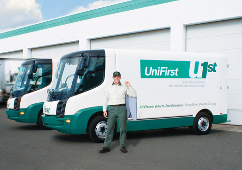 """GREEN"" DELIVERIES -- UniFirst is testing all electric-powered vans for its customer deliveries. The ..."