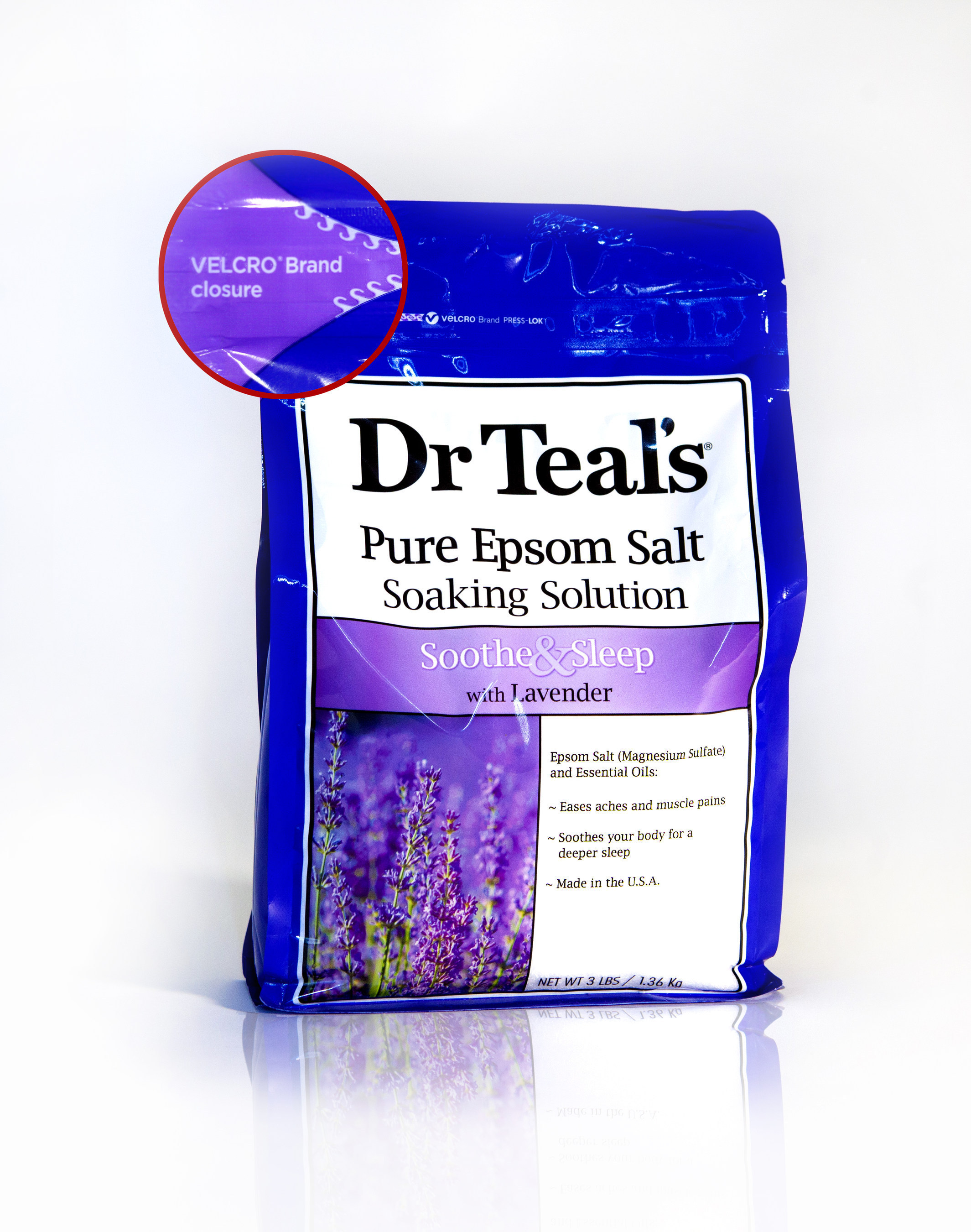 VELCRO(R) Brand PRESS-LOK(R) closure on Dr Teal's(R) Epsom Salt Soaking Solution bag. Available in the Bath section at mass market retailers nationwide.