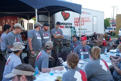 Team Rubicon volunteers set up at a disaster response operation in Mississippi.